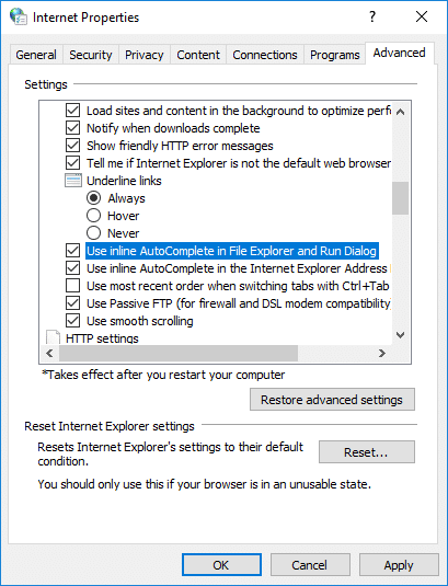 Checkmark Use Inline AutoComplete in File Explorer and Run Dialog