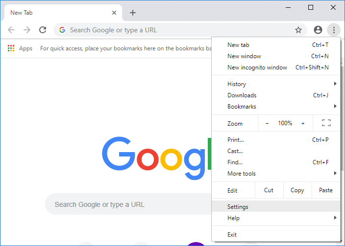 Click on More button then click on Settings in Chrome | How to Change Chrome Default Download Folder Location