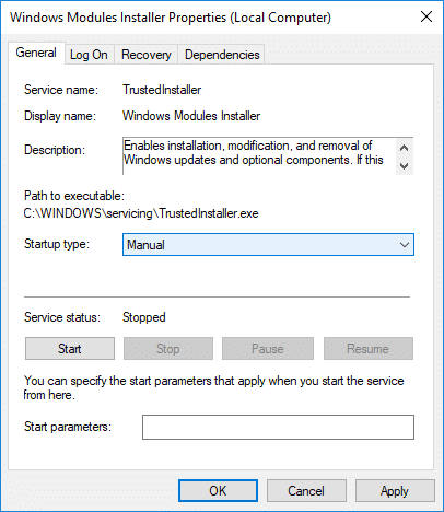 Click on Stopunder Windows Module Installer then from the Startup type drop-down select Manual