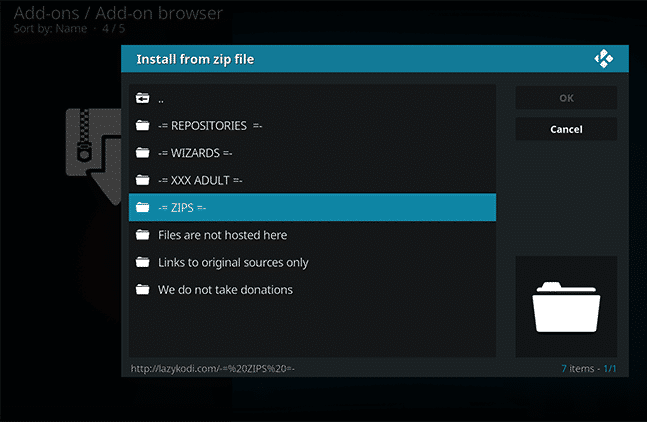 Click on 'ZIPS' to install Kodi Bae repository for Exodus