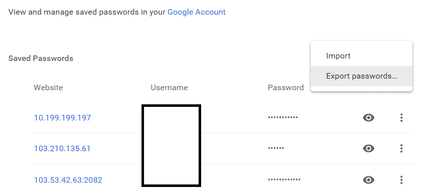 Click on the More Action button then select Export passwords
