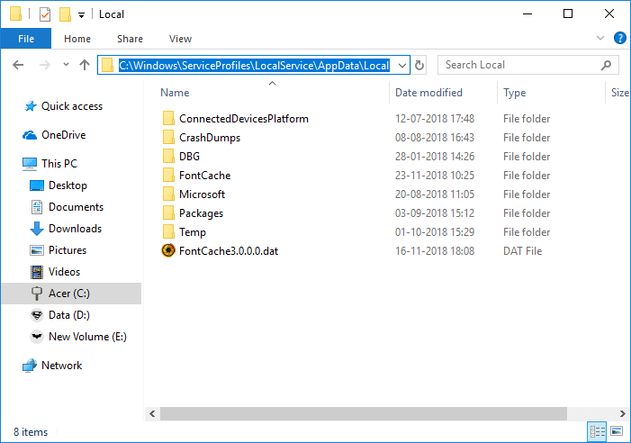 Delete all the files with the name FontCache and .dat as the extension