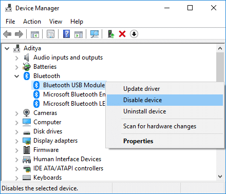 Disable Bluetooth Device