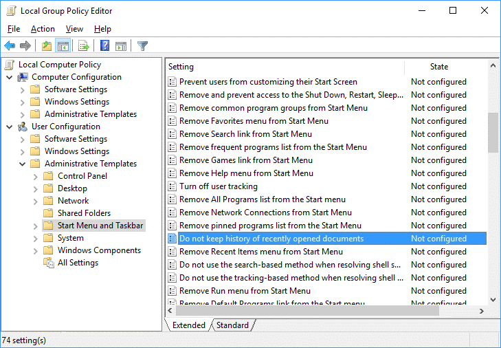 Do not keep history of recently opened documentspolicy in Gpedit   Turn Off Recent Items and Frequent Places in Windows 10
