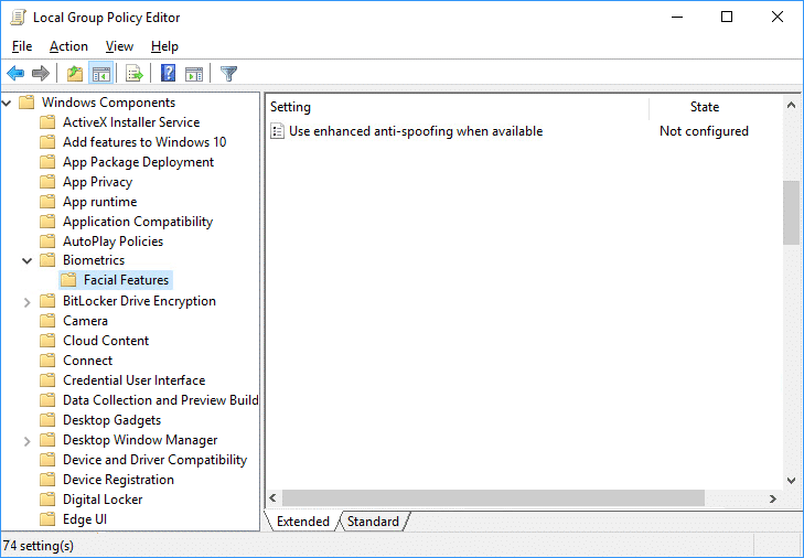 Double-click on Configure enhanced anti-spoofing policy in gpedit