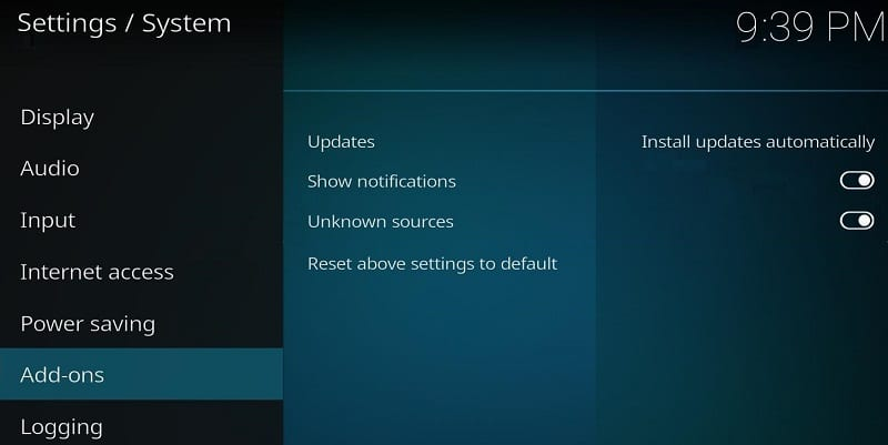 Enable Apps from Unknown Sources in Kodi