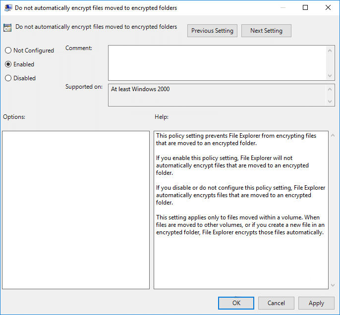 Enable Do not Automatically Encrypt files moved to Encrypted folders using Group Policy Editor