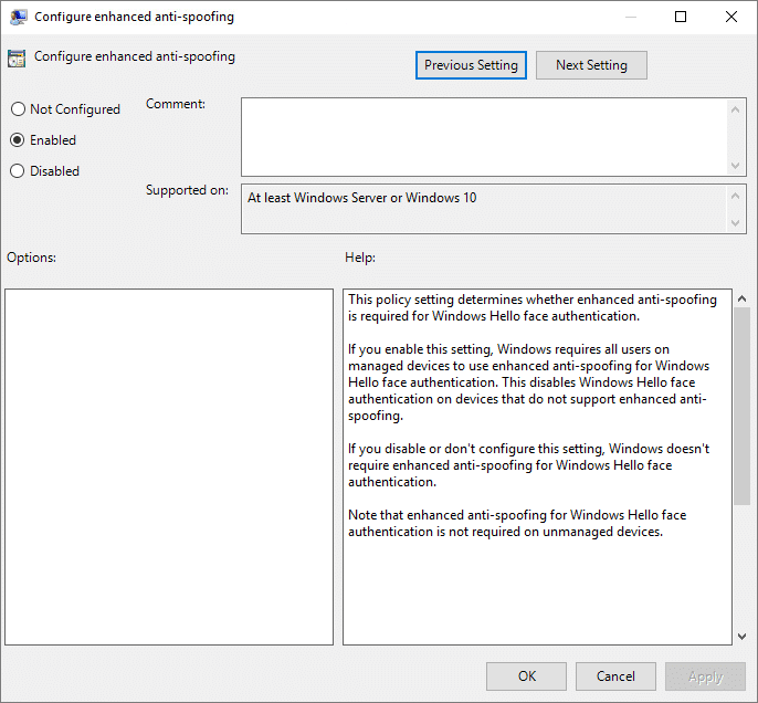 Enable Enhanced Anti-Spoofing for Windows Hello Face Authentication in Group Policy Editor