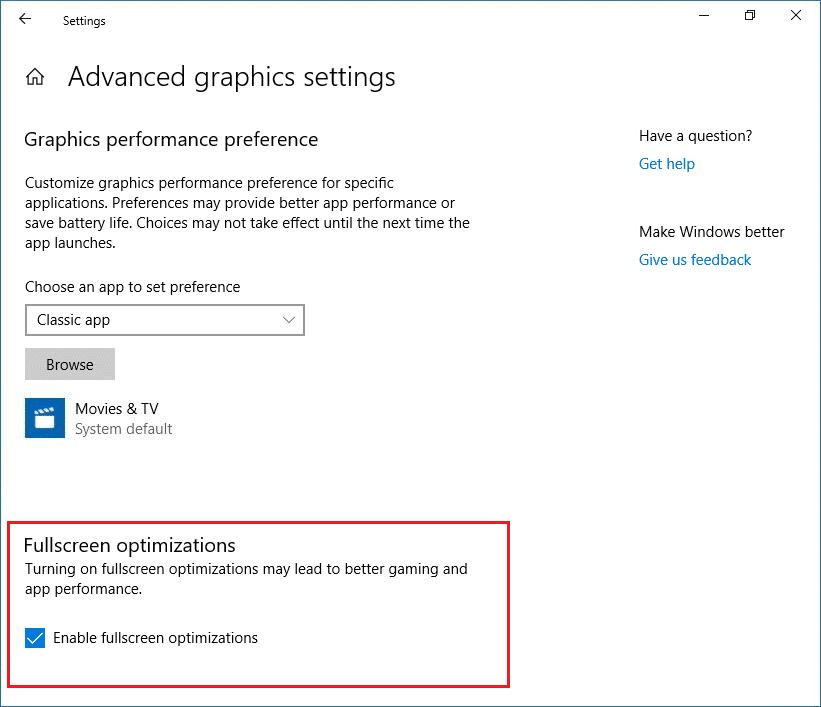 Enable or Disable Fullscreen Optimizations in Windows 10 Settings