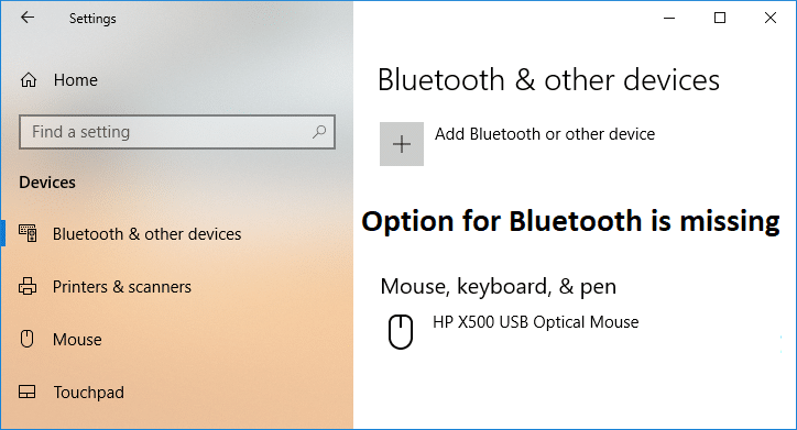 Fix Option to Turn Bluetooth on or off is Missing from Windows 10