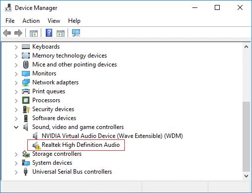 Fix Realtek High Definition Audio Driver Issue