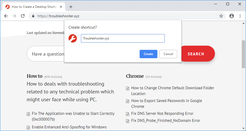 From the context menu select Create Shortcut& enter a name for your shortcut