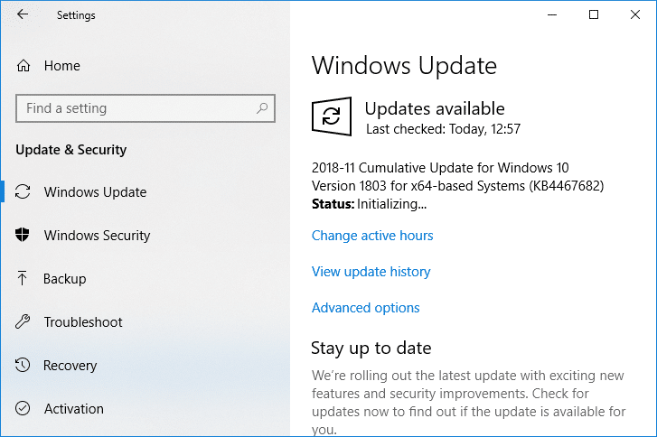 Now Check for Windows Update Manually and install any pending updates