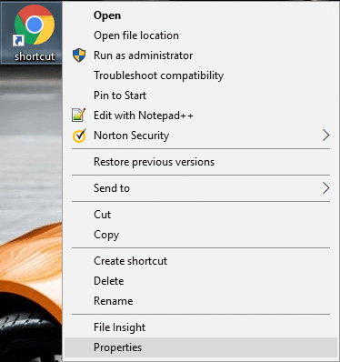 Now right-click on the Chrome icon then select Properties.
