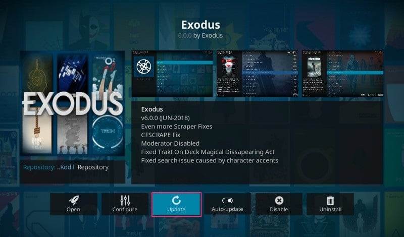 On the Exodos Addon information page, click on the Update icon