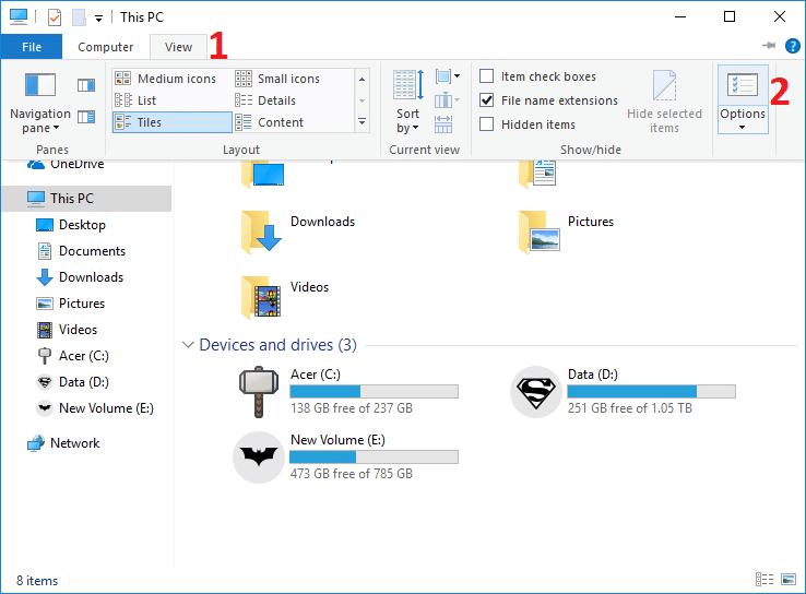 Open Folder Options in File Explorer Ribbon