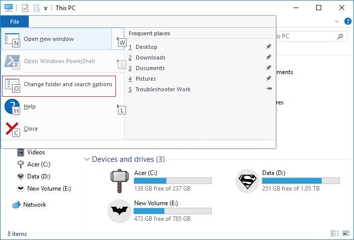 Open Folder Options in Windows 10 using Keyboard Shortcut