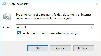Open regedit with administrative rights using Task Manager