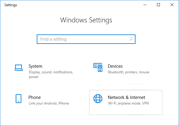 Press Windows Key + I to open Settings then click on Network & Internet