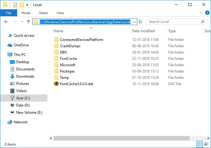 Rebuild Font Cache in Windows 10