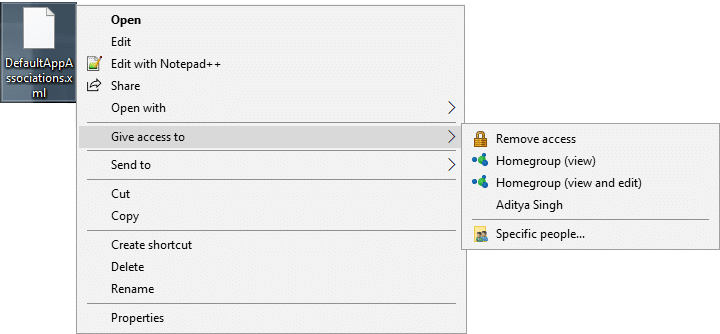 Remove Give access to from the Context Menu in Windows 10