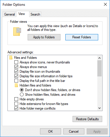 Reset Folder View Settings to Default in Windows 10