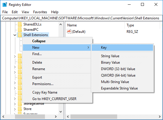 Right-click on Shell Extension then select New Key