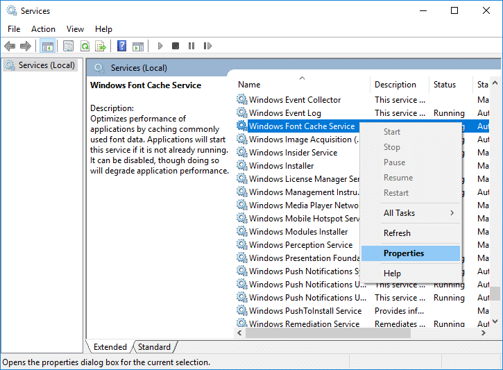 Right-click on Window Font Cache Service then select Properties