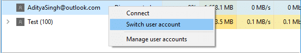 Right-click on the User in Task Manager and select Switch User