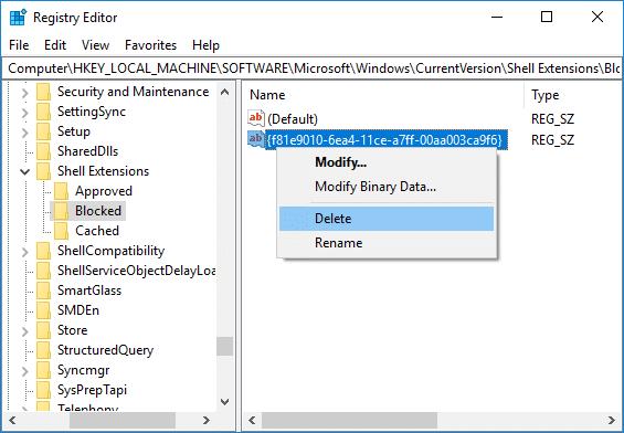 Right-click on the string {f81e9010-6ea4-11ce-a7ff-00aa003ca9f6} then select Delete