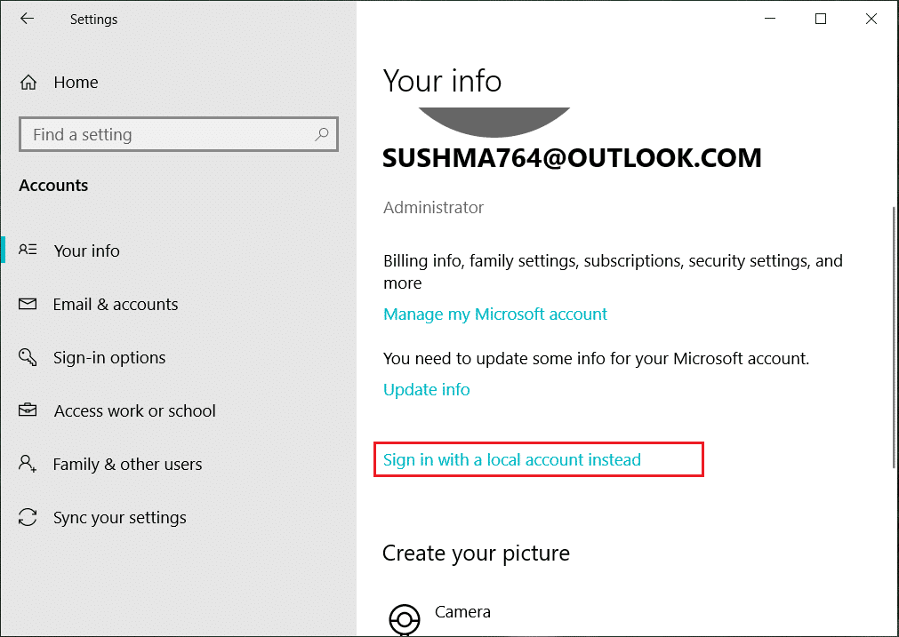 Select Account and then click on Sign in with a local account instead | Disable Data Collection in Windows 10 (Protect Your Privacy)