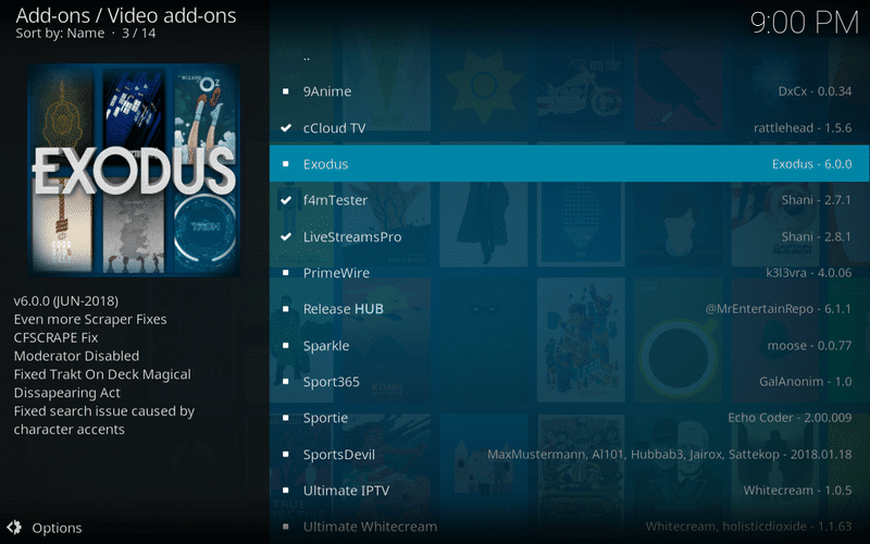 Select Exodus 6.0.0 from the list