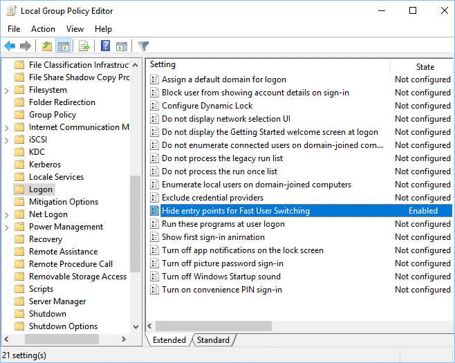 Select Logon then double-click on Hide entry points for Fast User Switching policy
