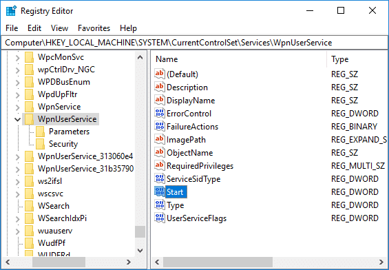 Select WpnUserService then in the right window double-click on the Start DWORD