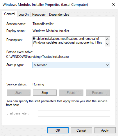 Set the Startup type to Automatic and click Start forWindows Modules Installer