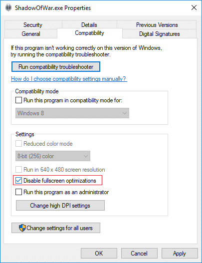 Switch to the Compatibility tab and checkmark Disable fullscreen optimizations