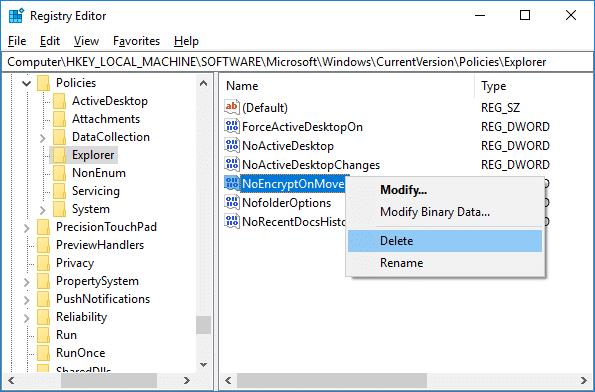 To Enable the auto Encrypt feature, simply delete NoEncryptOnMove DWORD