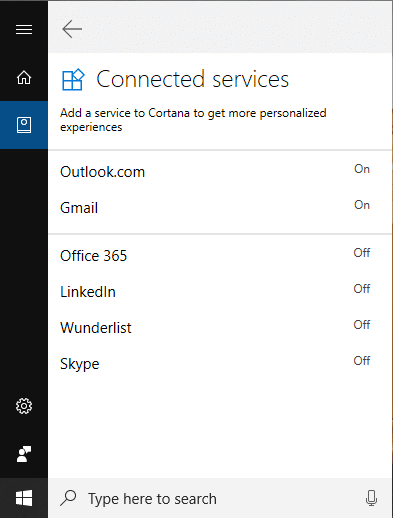 Click on Connected Servicesunder Connections and then click on Gmail