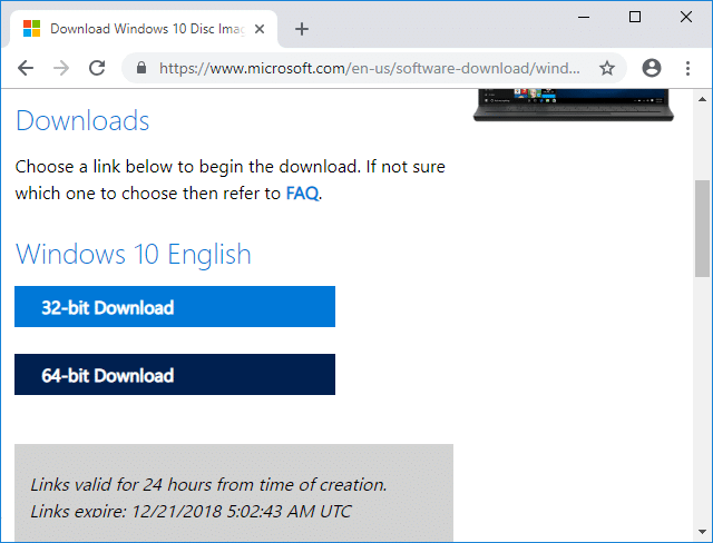 Click on either 64-bit Download or 32-bit Download according to your preference