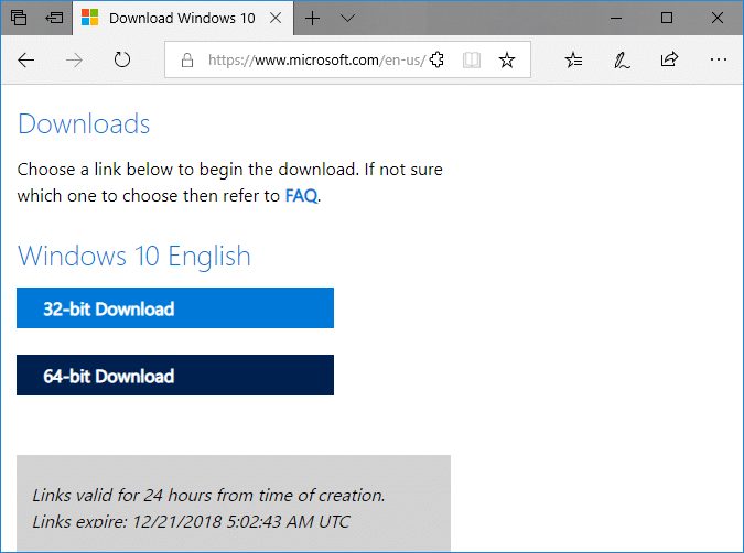 Click on either 64-bit Download or 32-bit Download according to your preferences