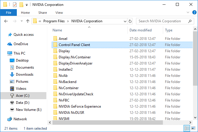 Click on the back button to navigate to NVIDIA Corporation folder | Fix NVIDIA Control Panel Missing in Windows 10