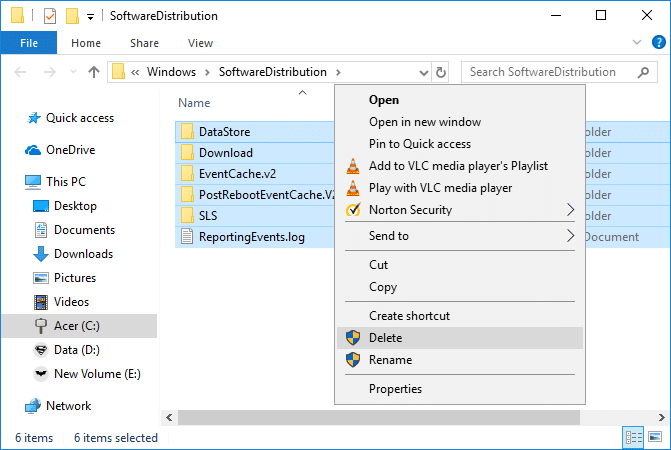 Delete all the files and folders under SoftwareDistribution