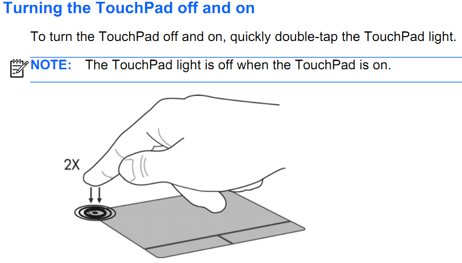 Double-tap on the TouchPad on or off indicator