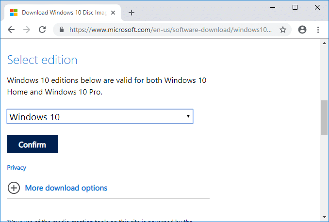 Download official Windows 10 ISO using Google Chrome