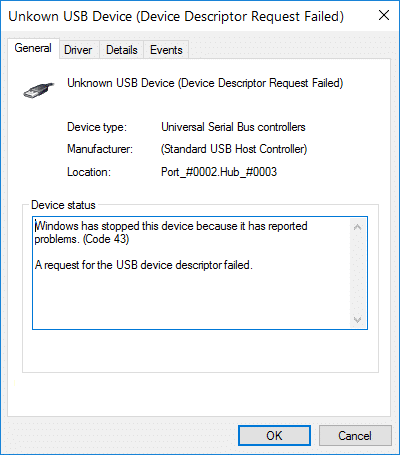 Fix Windows has stopped this device because it has reported problems (Code 43)