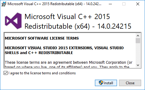 Follow the on-screen instruction to install the Microsoft Visual C ++ Redistributable package