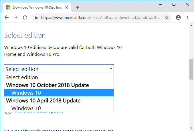 From Select edition drop-down choose the edition of Windows 10 you want to use