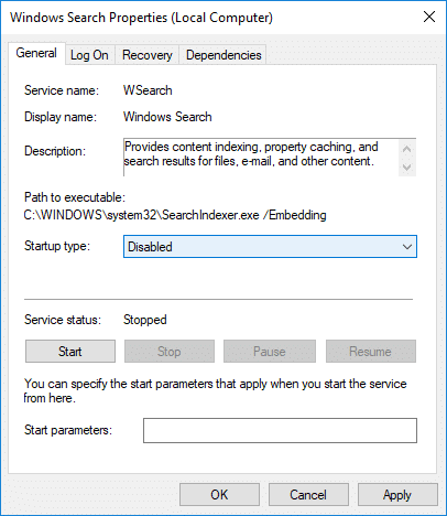 From the Startup type drop-down of Windows Search select Disabled