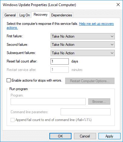 InWindows update service Properties window switch to Recovery tab
