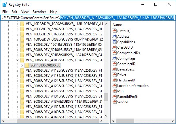 Navigate to AHCI Controller then the Random Number under Registry Editor